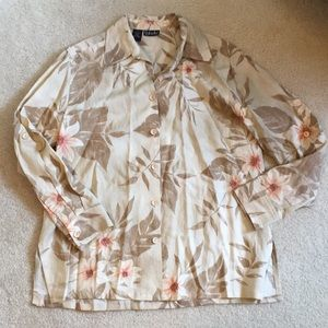 NWOT Rafaella button up tropical print shirt